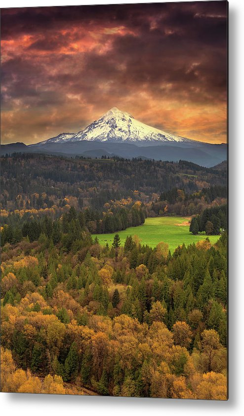 Mount Hood Metal Print featuring the photograph Mount Hood At Sandy River Valley In Fall by David Gn