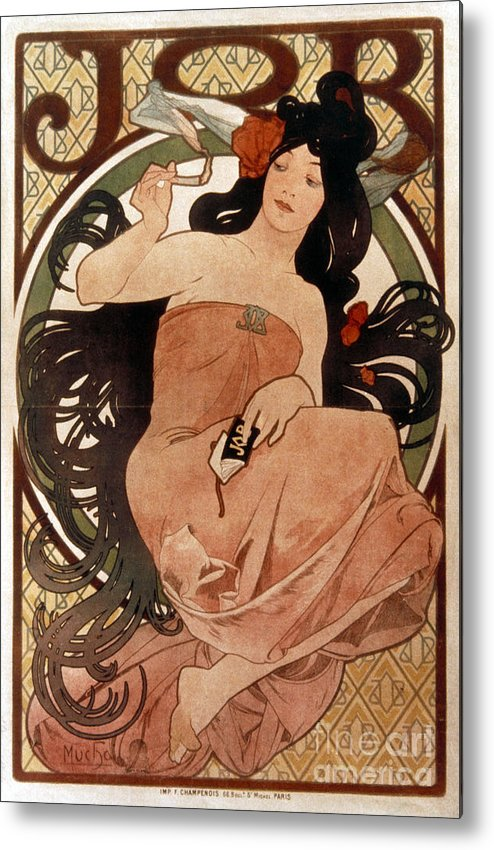 1898 Metal Print featuring the photograph Mucha: Cigarette Paper Ad by Granger