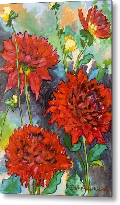 Dahlias Metal Print featuring the painting Mystery Day Dahlias by Brenda Williams