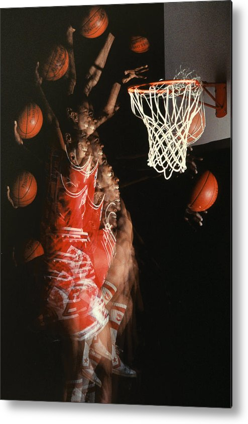 Sport; Sports; Basketball; Player; Effort; Ball; Basket; Dunk; Jump; Jumping; Skill; Game; Games; Basket Ball; Hoop; Round Ball; Net; Swish; Man; Boy; Black; African American; African-american Metal Print featuring the photograph Net Fever by Gerard Fritz