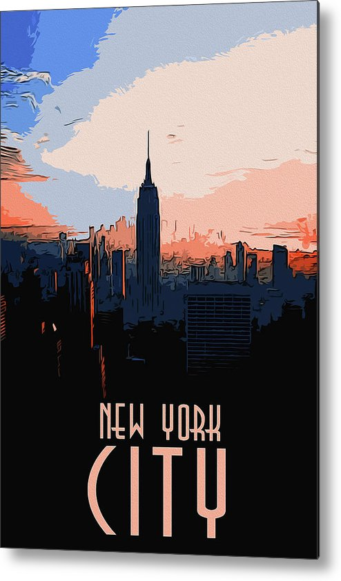 New York City Metal Print featuring the painting New York City Sunset by Andrea Mazzocchetti