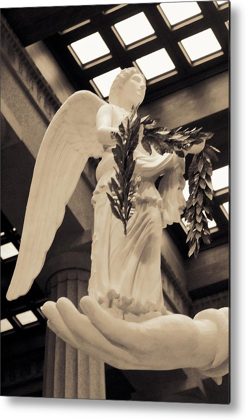 History Metal Print featuring the photograph Nike Goddess Of Victory Sepia by Linda Phelps