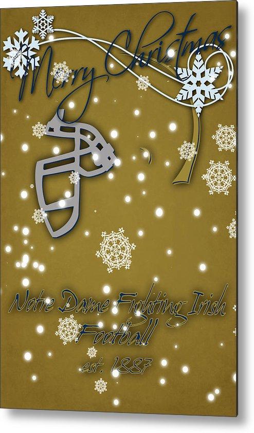 Irish Christmas.Notre Dame Fighting Irish Christmas Card 2 Metal Print