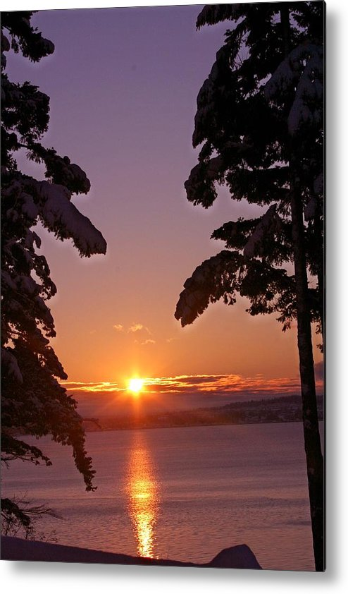 Sunrise Metal Print featuring the photograph Oak Harbor Sunrise II Sr 2002 by Mary Gaines