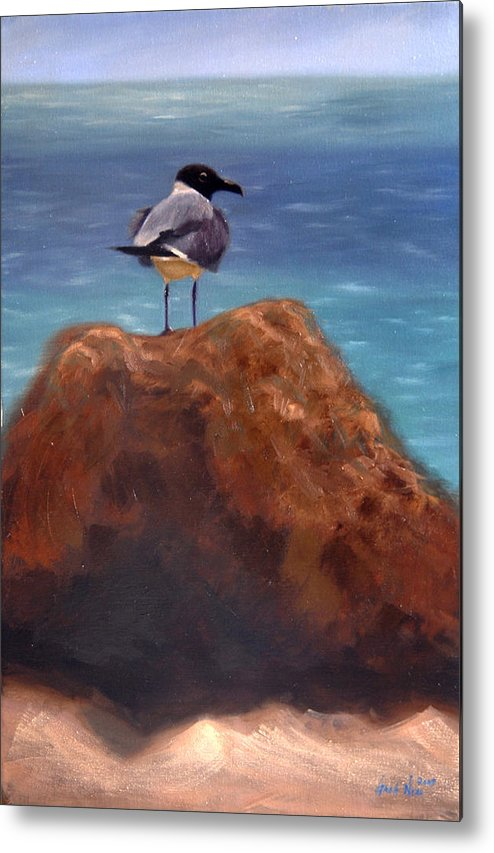Oil Metal Print featuring the painting Ocean View by Greg Neal