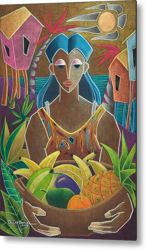 Female Metal Print featuring the painting Ofrendas De Mi Tierra by Oscar Ortiz