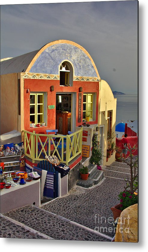 Santorini Metal Print featuring the photograph Oia Pub by Jeremy Hayden