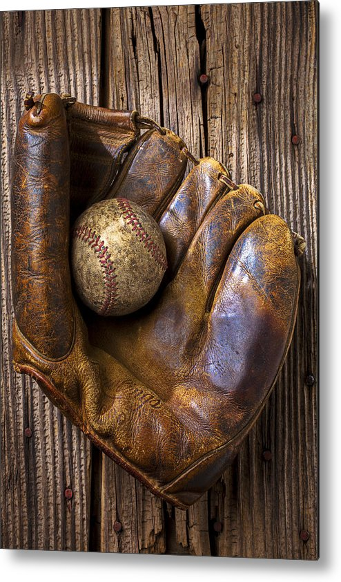 Old Metal Print featuring the photograph Old Baseball Mitt And Ball by Garry Gay
