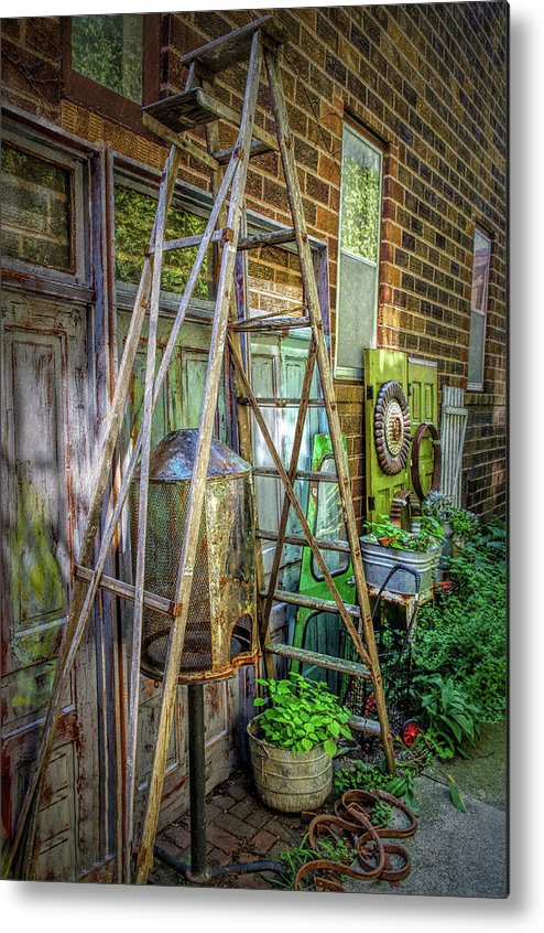 Antiques Metal Print featuring the photograph Old Ladder by Tom Reynen