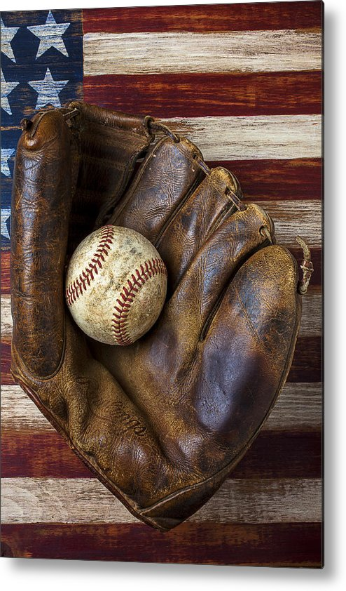 Old Mitt Metal Print featuring the photograph Old Mitt And Baseball by Garry Gay