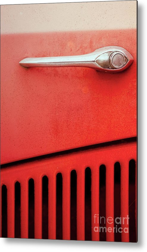 Old Metal Print featuring the photograph Old Red Car by Benjamin Harte