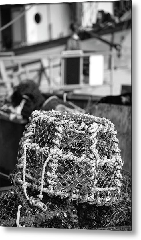 Fishing Metal Print featuring the photograph Old Vintage Hand Made Rope Lobster Pot Used In Fishing Industry by Matthew Gibson