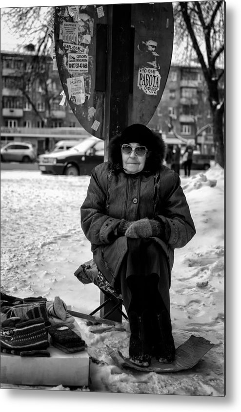 Selling Metal Print featuring the photograph Old Women Selling Woollen Socks On The Street Monochrome by John Williams
