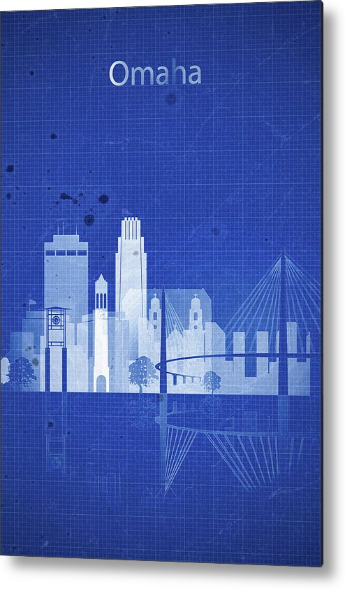 Blue Metal Print featuring the painting Omaha Blueprint Skyline by Dim Dom
