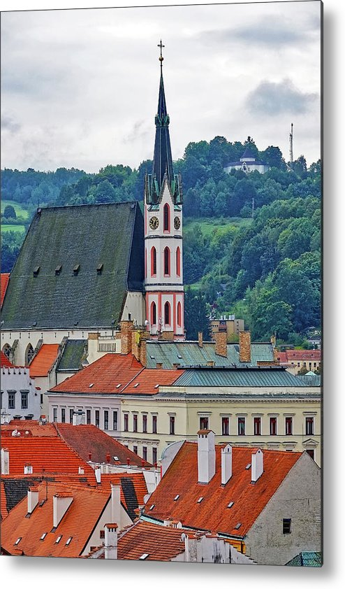 Cesky Krumlov Metal Print featuring the photograph One Of The Churches In Cesky Kumlov In The Czech Republic by Richard Rosenshein