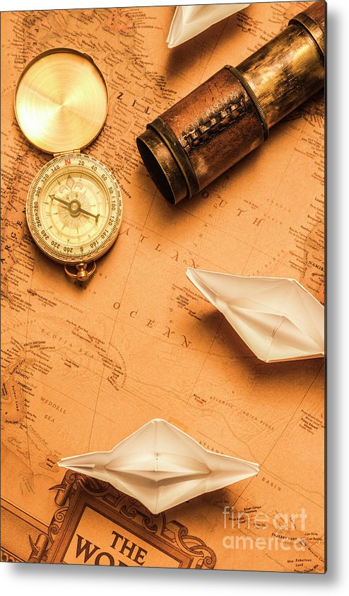 Boat Metal Print featuring the photograph Origami Paper Boats On A Voyage Of Exploration by Jorgo Photography - Wall Art Gallery