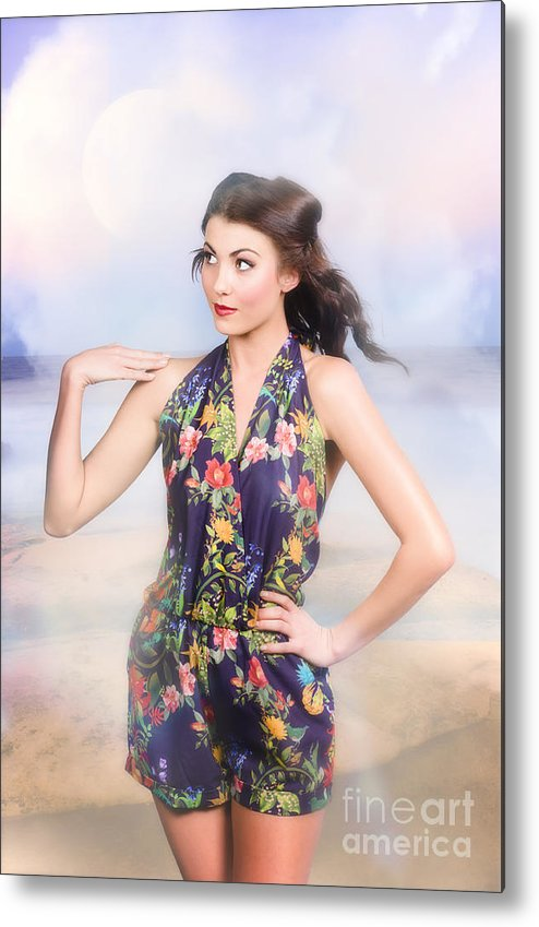 Fashion Metal Print featuring the photograph Outdoor Fashion Portrait. Spring Twilight Beauty by Jorgo Photography - Wall Art Gallery