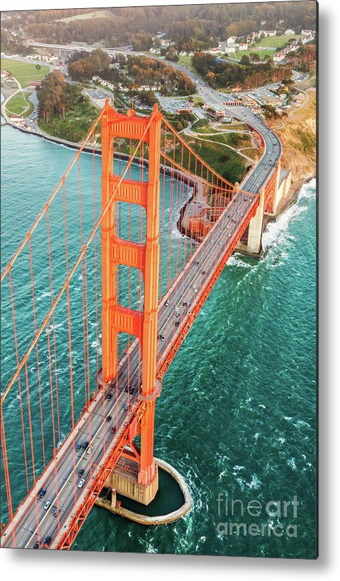 Architecture Metal Print featuring the photograph Overhead Aerial Of Golden Gate Bridge, San Francisco, Usa by Matteo Colombo
