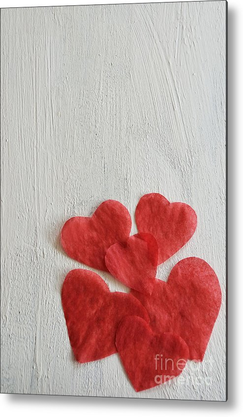 Paper Metal Print featuring the photograph Paper Hearts by Birgit Tyrrell