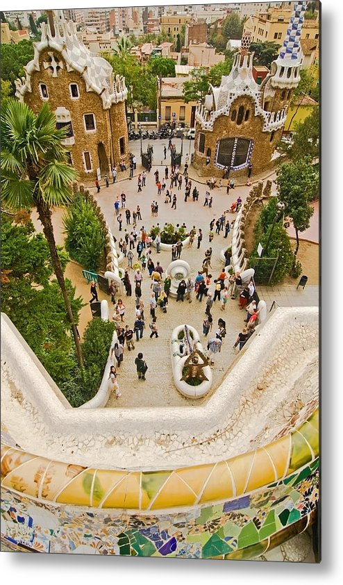 Parc Guell Metal Print featuring the photograph Parc Guell In Barcelona by Sven Brogren