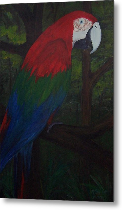 Birds Metal Print featuring the painting Parrot by Nancy Self