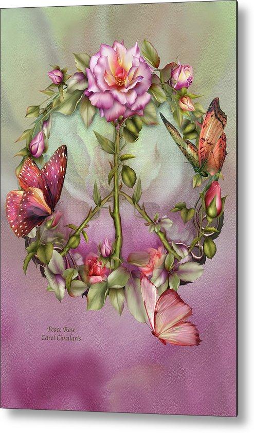 Rose Metal Print featuring the mixed media Peace Rose by Carol Cavalaris