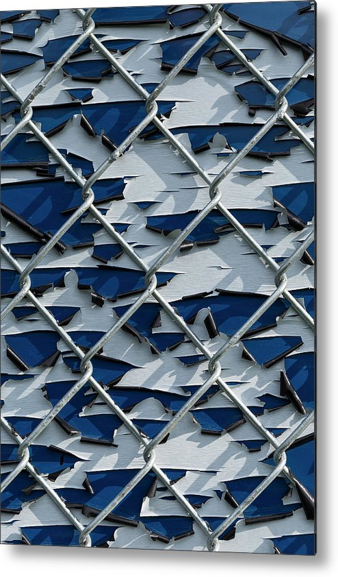 Background Metal Print featuring the photograph Pealing Paint Fence Abstract 3 by John Brueske