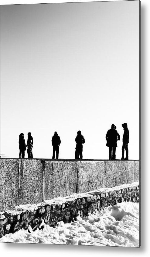 Landscape Metal Print featuring the photograph People Standing In Groups Abstract Monchrome by John Williams