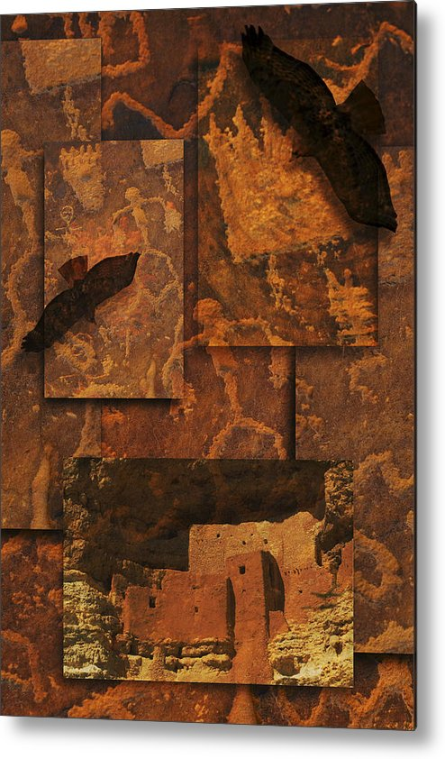 Petroglyphs Metal Print featuring the photograph Petroglyphs Red Tailed Hawk by Bob Coates