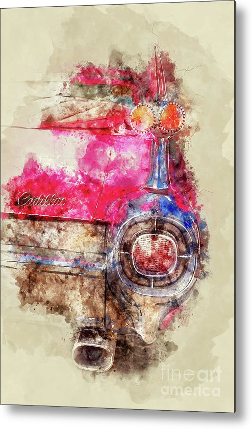 Cadillac Metal Print featuring the painting Pink Cadillac - Back by Delphimages Photo Creations