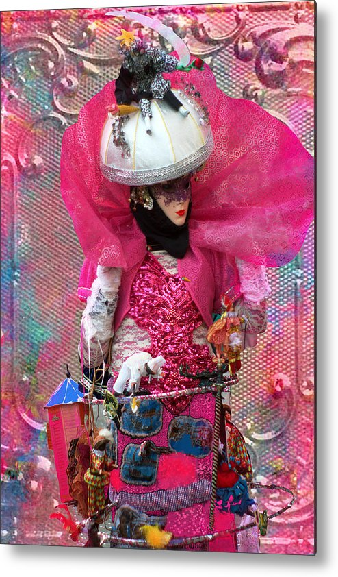 Carnival Metal Print featuring the photograph Pink Carnival Costumed Lady by Suzanne Powers