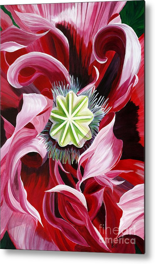 Macro Flower Metal Print featuring the painting Pink Entanglement by Julie Pflanzer
