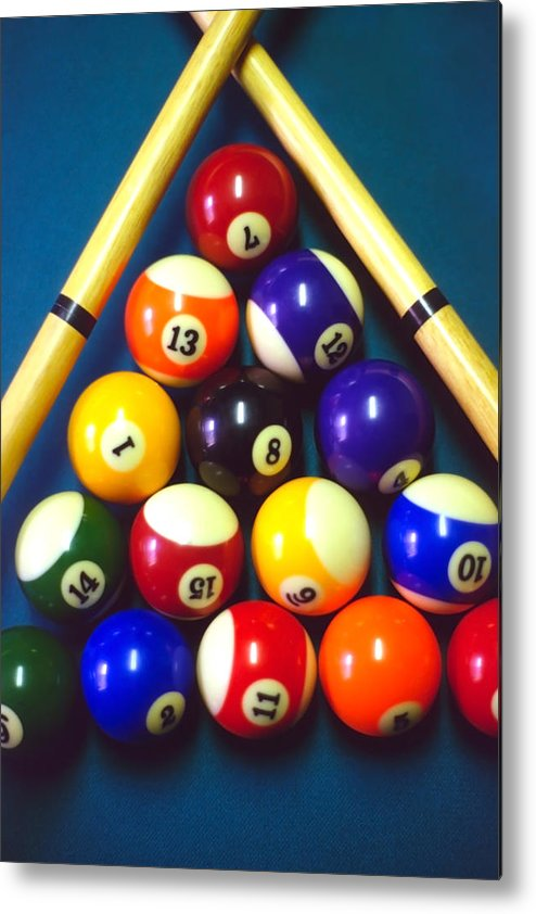 Pool Metal Print featuring the photograph Pool Balls And Cue Sticks by Steve Ohlsen
