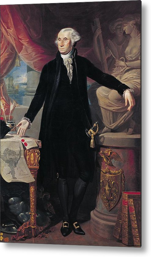 Portrait Metal Print featuring the painting Portrait Of George Washington by Joes Perovani