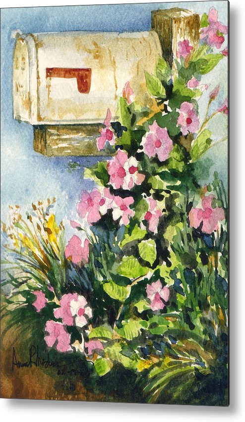 Mailbox Metal Print featuring the painting Postman's Delight by Anne Rhodes