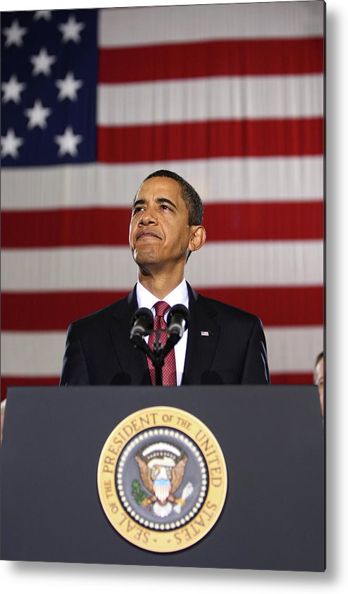 Obama Metal Print featuring the photograph President Obama by War Is Hell Store