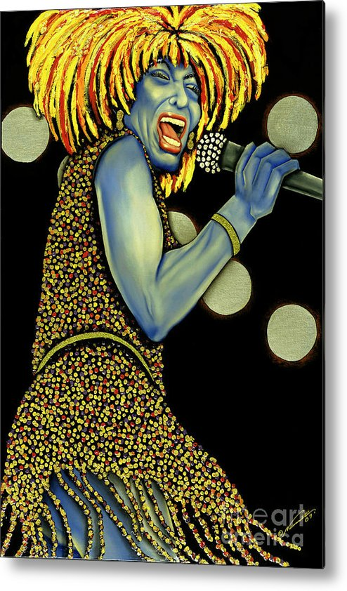 Portrait Metal Print featuring the painting private Dancer by Nannette Harris