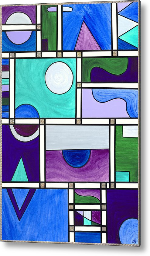 Abstract Metal Print featuring the painting Purple-blue-green Abstract 1 by Patty Vicknair