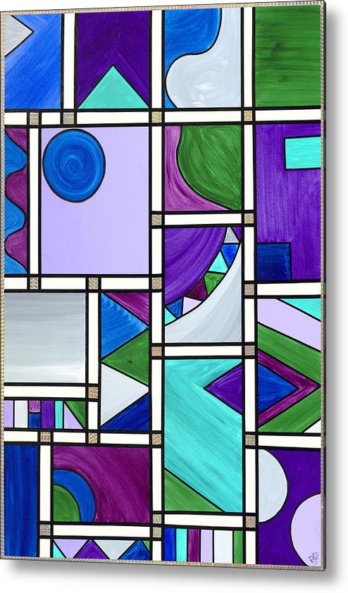 Abstract Canvas Metal Print featuring the painting Purple-blue-green Abstract 3 by Patty Vicknair
