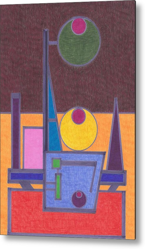 Abstract Metal Print featuring the drawing Purple Lines by Brian Kane