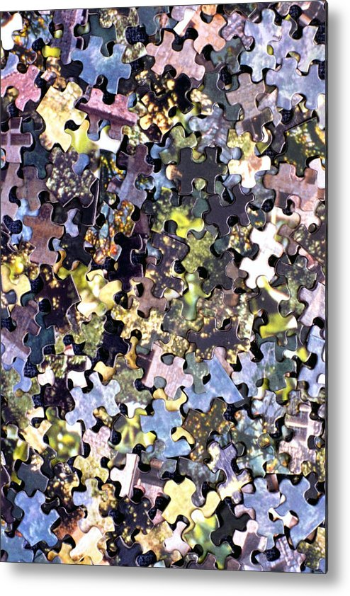 Puzzle Metal Print featuring the photograph Puzzle Piece Abstract by Steve Ohlsen