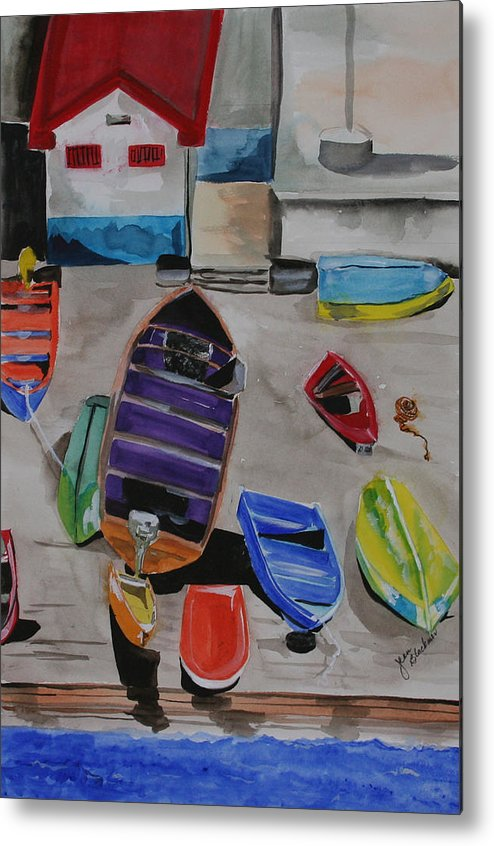Boats Metal Print featuring the painting Rainbow On The Dock by Jean Blackmer