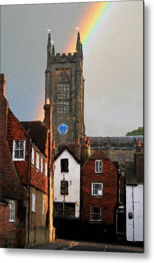 St Swithuns Metal Print featuring the digital art Rainbow Over Church by Julian Perry