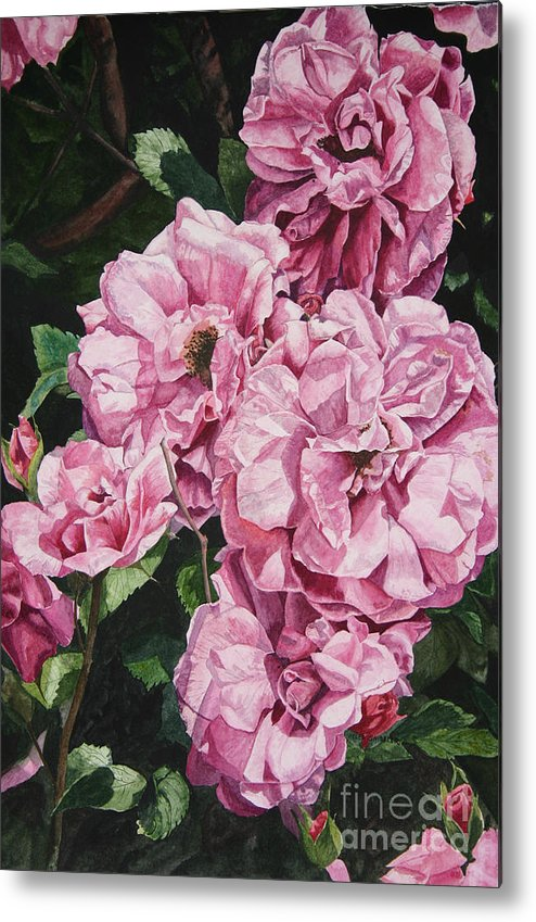 Floral Metal Print featuring the painting Ramblin Rose by Helen Shideler