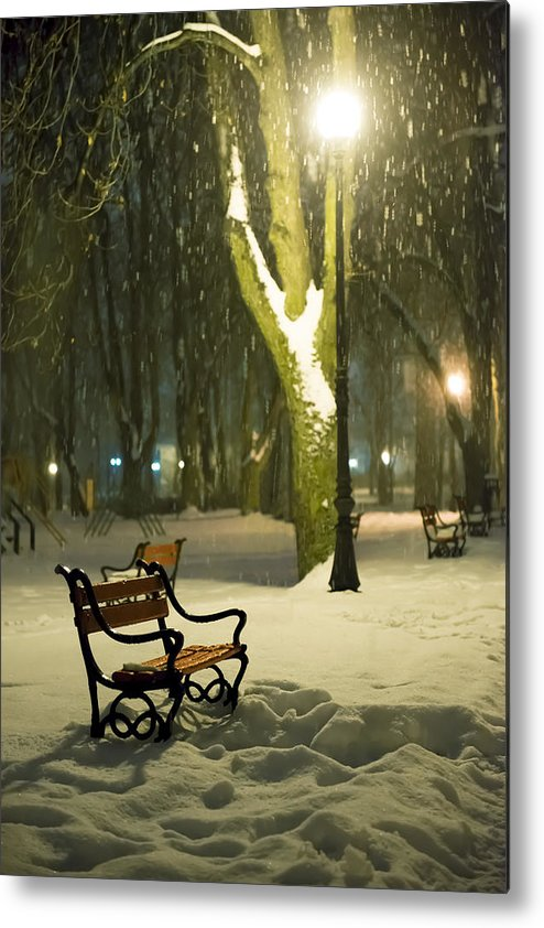 Background Metal Print featuring the photograph Red Bench In The Park by Jaroslaw Grudzinski