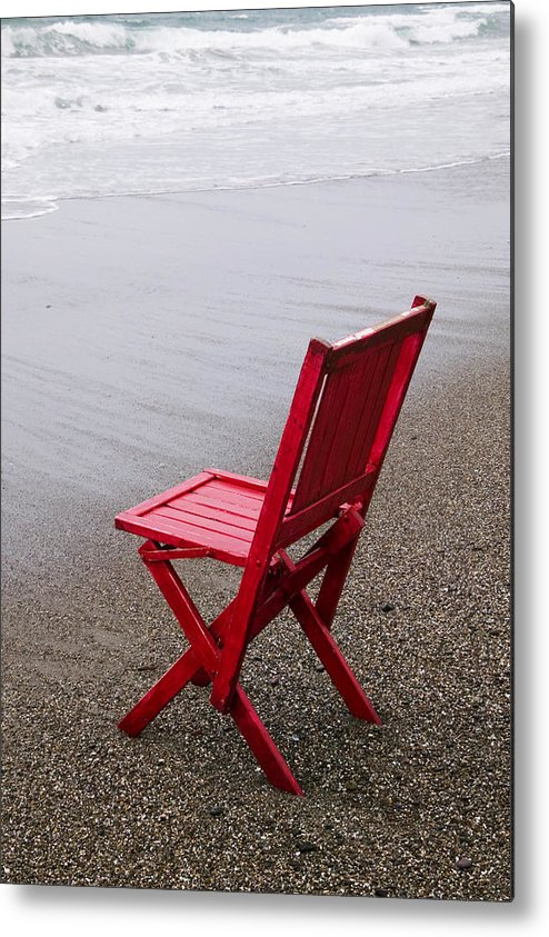 Red Metal Print featuring the photograph Red Chair On The Beach by Garry Gay