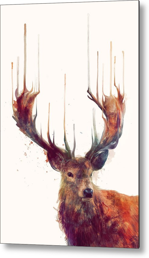 Red Deer Metal Print featuring the painting Red Deer by Amy Hamilton