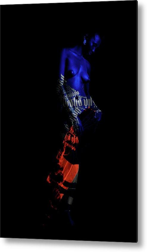Figurative Metal Print featuring the digital art Reflecting Blue by Ronex Ahimbisibwe