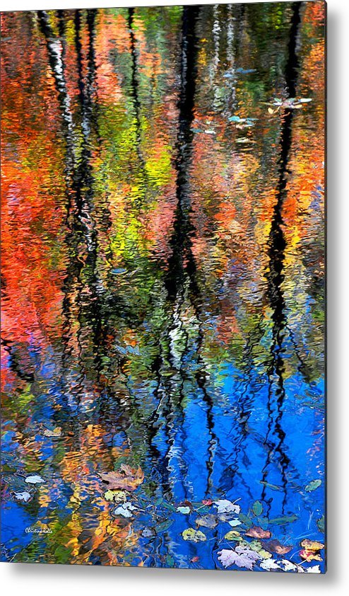 Reflection Of Blue Sky And Autumn Maples Metal Print by Christina Rollo