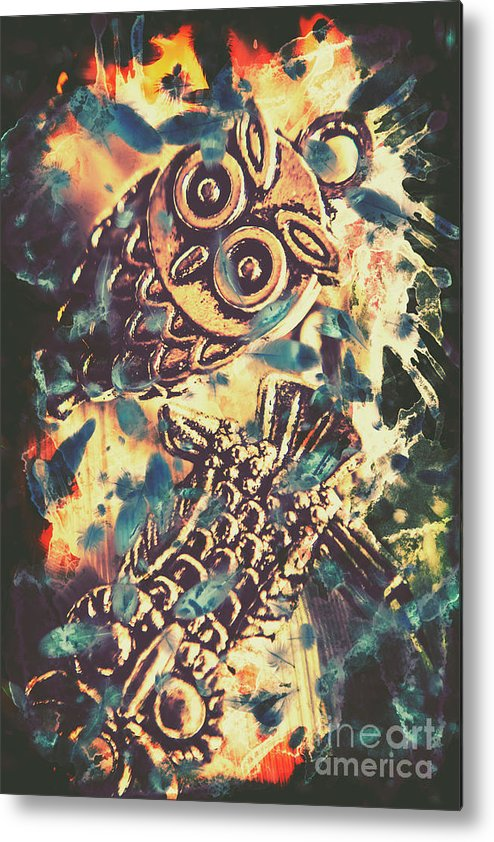 Owl Metal Print featuring the photograph Retro Pop Art Owls Under Floating Feathers by Jorgo Photography - Wall Art Gallery